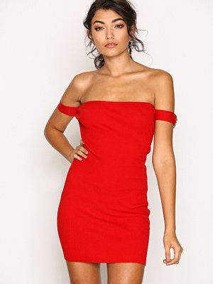 Missguided Buckle Bardot Mini Dress Red