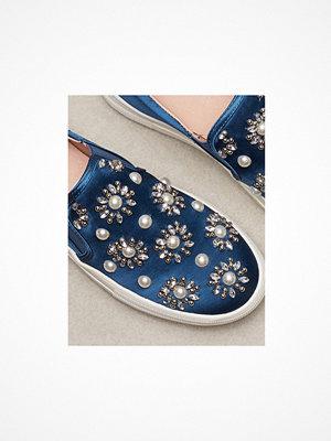 Topshop TILT Embellished Slip On Shoes Blue