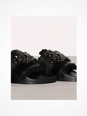 Tofflor - Topshop HERO Embellished Sliders Black