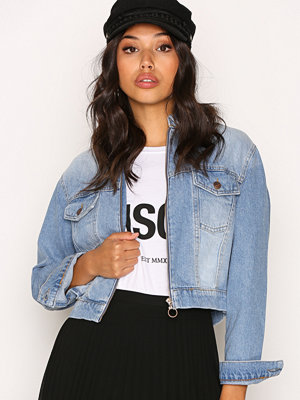 New Look Cropped Zip Front Jacket Pottery Blue