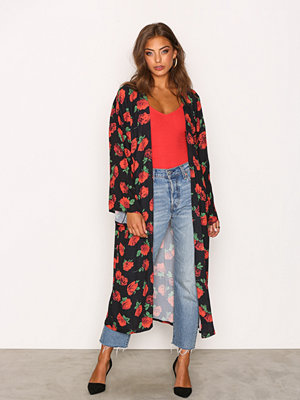 Kiss The Sky Bed Of Roses Kimono Black/Red