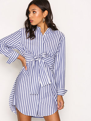 T By Alexander Wang L/S Tie Front Collared Dress Randig