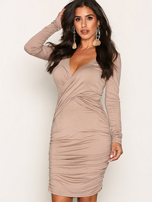 NLY One Wrap Waist Dress Beige