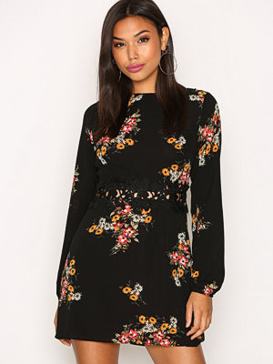 Ax Paris Long Sleeve Print Dress Black Print