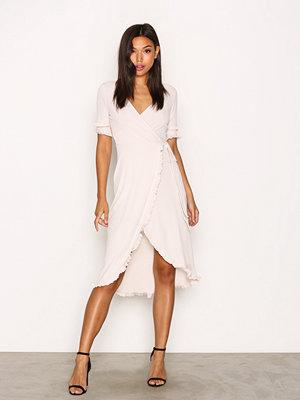 Topshop Frill Sleeve Wrap Midi Dress Beige