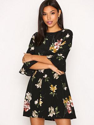 Ax Paris Frill Sleeve Dress Black Print