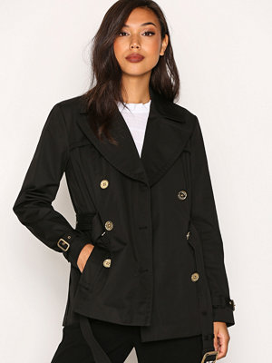 MICHAEL Michael Kors Short Pleated Trench Black