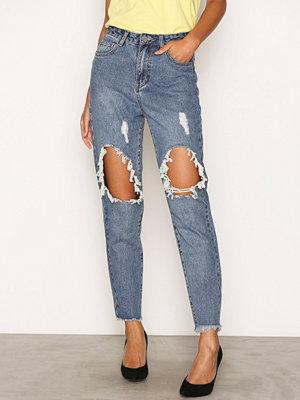 Pieces Pcmom Monda Hw Jeans Mbld Blå