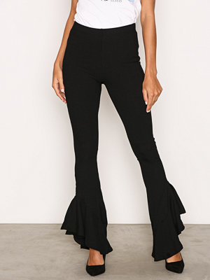 Topshop svarta byxor Mermaid Frill Flare Trousers Black