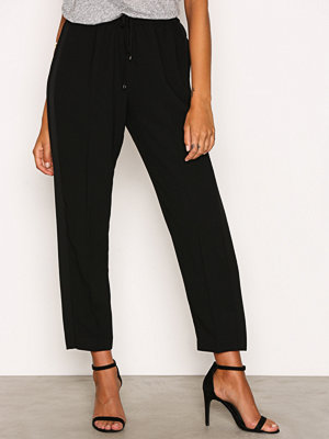 T By Alexander Wang svarta byxor Satin Back Crepe Pant Black