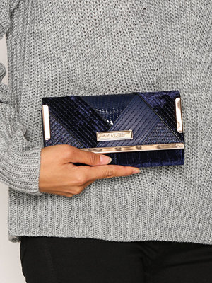 River Island Mix Quilt Cliptop Purse Navy