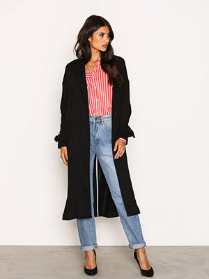 Topshop Plisse Duster Coat Black