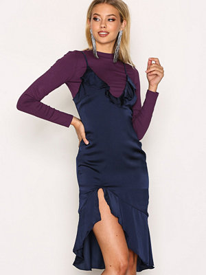 Missguided Frill Detail Midi Dress Navy