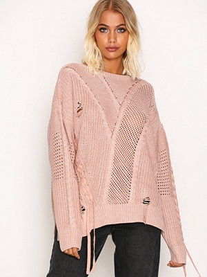 River Island Ladder Knitted Jumper Light Pink