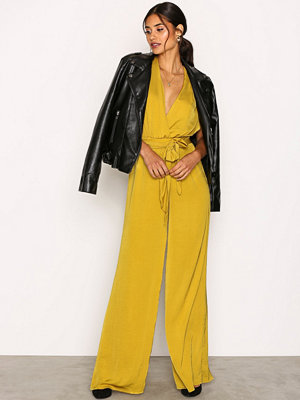 Jumpsuits & playsuits - Missguided Satin Wide Leg Jumpsuit Yellow