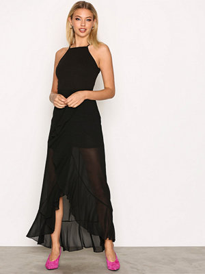 Missguided 90's Neck Frill Maxi Dres Black
