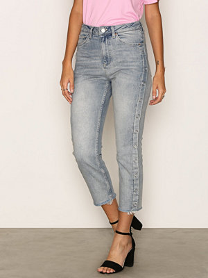 Topshop MOTO Bleach Popper Side Straight Leg Jeans Bleach Acid Wash