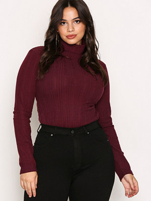 NLY Trend Brush Rib Polo Top Wine