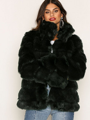 NLY Trend Puffy Fur Coat Grön