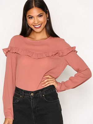 Blusar - Only onlELENA L/S Ruffle Top Noos Wvn Rosa