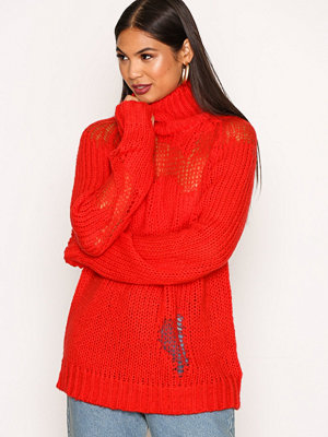 Glamorous Ripped Polo Jumper Red