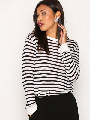 T By Alexander Wang Striped Slub Jersey L/S Crewneck Tee Ink And Ivory