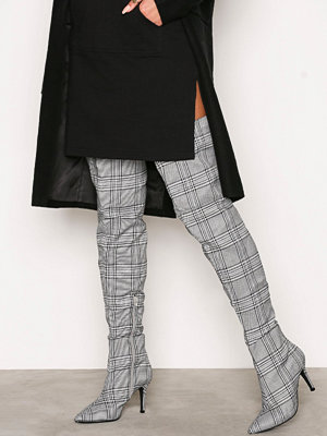 NLY Shoes Checked Thigh High Boot Svart/Vit
