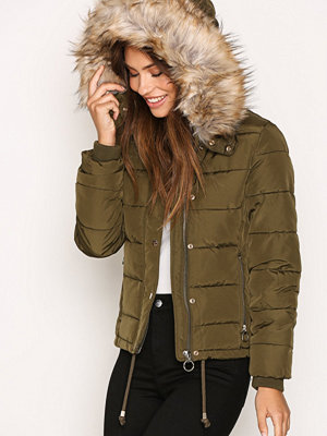 Topshop Quilted Puffer Jacket Khaki