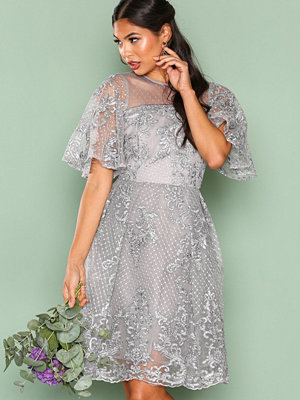 True Decadence Lace Short Sleeve Dress Grey