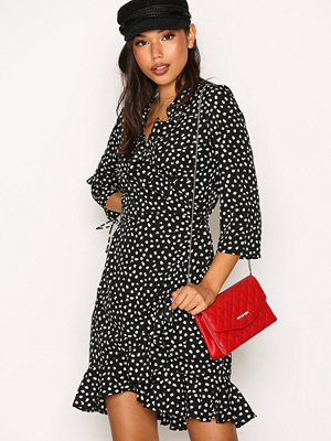 Vero Moda Vmhenna Dot 3/4 Wrap Dress Exp Svart