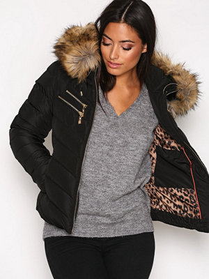 Hollies Chatel Gold Zip Fake Fur Black