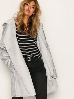 NLY Trend Cozy Shearling Coat Ljus Blå