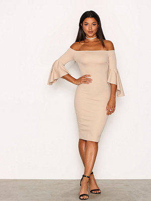 NLY One Trumpet Sleeve Dress Beige