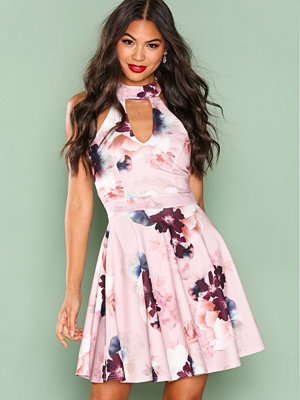 New Look Floral Print Skater Dress Pink