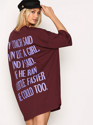 NLY Trend Oversized Print Tee Burgundy