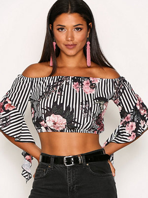 NLY One Off Shoulder Print Top Mönstrad