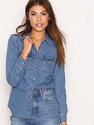 Topshop Fitted Denim Shirt Denim