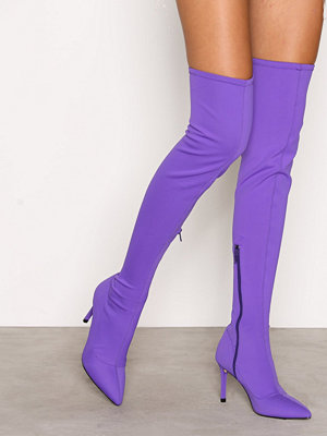 NLY Shoes Pointy Stiletto Thigh Boot Lila