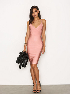 Missguided Bodycon Bandage Midi Dress Blush