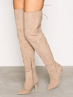 NLY Shoes Thigh High Stiletto Boot Beige