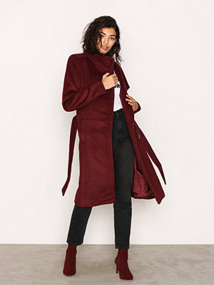 Only onlMARY Long Wool Coat Otw Mörk Röd