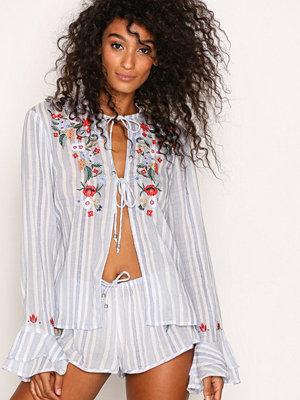 Pyjamas & myskläder - River Island Striped Embroidered Tie Front Shirt Blue Stripe