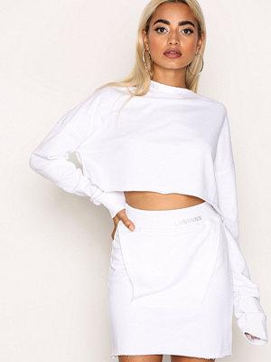 Missguided Raw Edge Sweat Skirt White