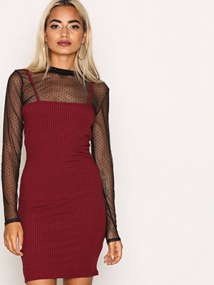 Missguided Ribbed Bodycon Dress Burgundy