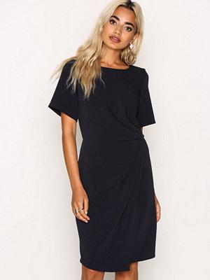 Closet SyntheticCloset Short Sleeve Asymmetric Draped Dress Navy