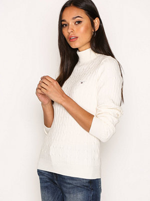 Gant Stretch Cotton Cable Turtle Neck Eggshell