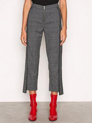 Dagmar grå rutiga byxor Cooper Wool Pant Check Pattern