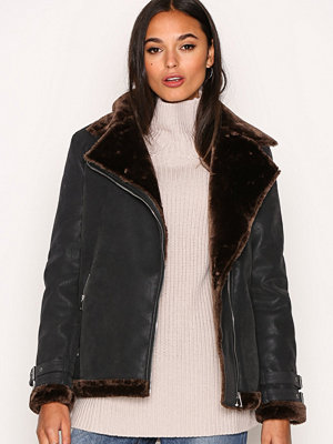 Missguided Faux Fur Lined Jacket Black