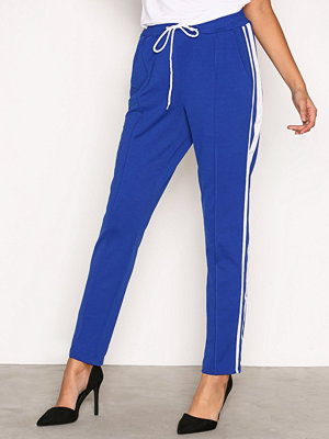 Missguided marinblå byxor Striped Skinny Joggers Blue