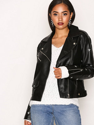 Missguided Star Embroidered Jacket Black